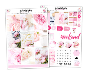 I Love Peonies Planner Stickers Full Kit Vertical