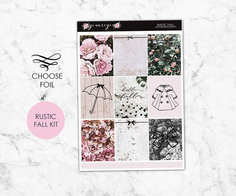 Foil Planner Stickers Full Kit - Rustic Fall