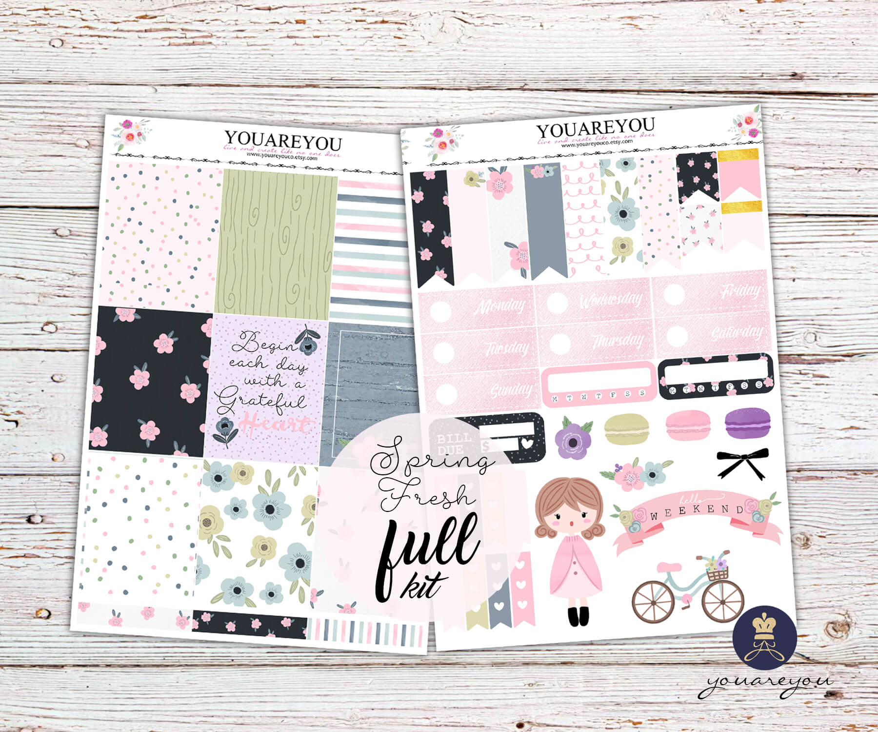 Spring Fresh Planner Stickers Full Kit Vertical