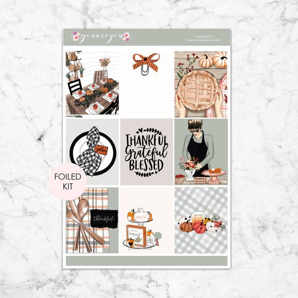 FOILED Planner Stickers Full Kit Vertical - Thankful