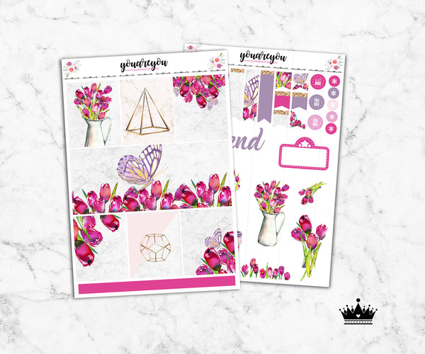 Tulips Planner Stickers Full Kit Vertical