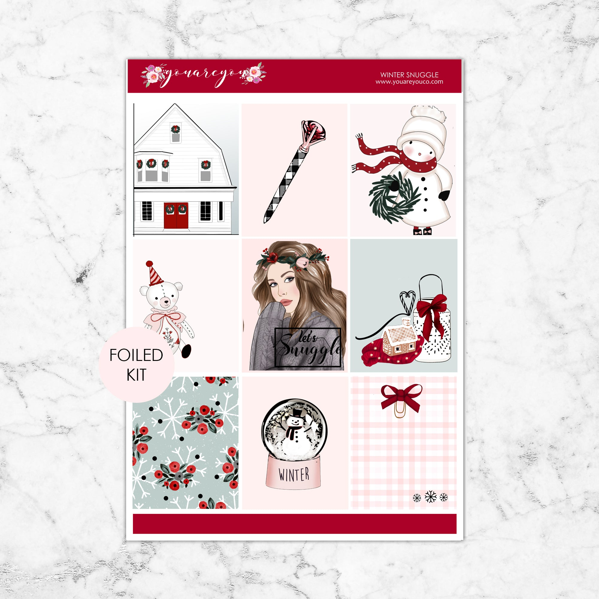 FOILED Planner Stickers Full Kit Vertical - Winter Snuggle