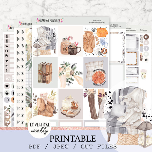 Erin Condren Printable Planner Stickers, Vertical Weekly Kit - Winterful