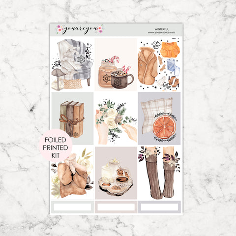 FOILED Planner Stickers Full Kit Vertical - Winterful