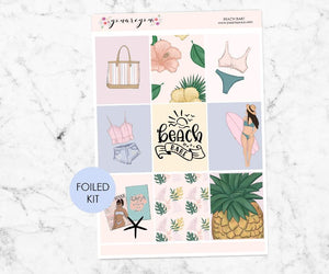 FOILED Planner Stickers Full Kit Vertical - Beach Babe