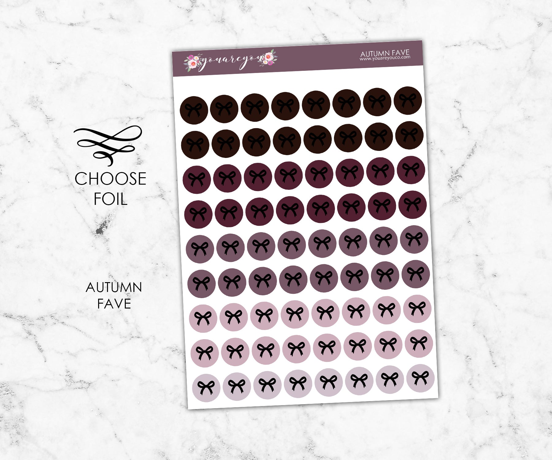 FOIL Autumn Fave Bow round icon stickers