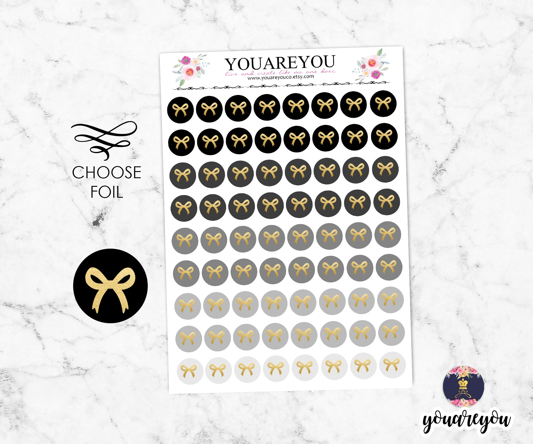 Black Tone Foiled Bow round icon stickers
