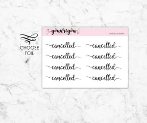 Foiled Script Planner Stickers - Cancelled