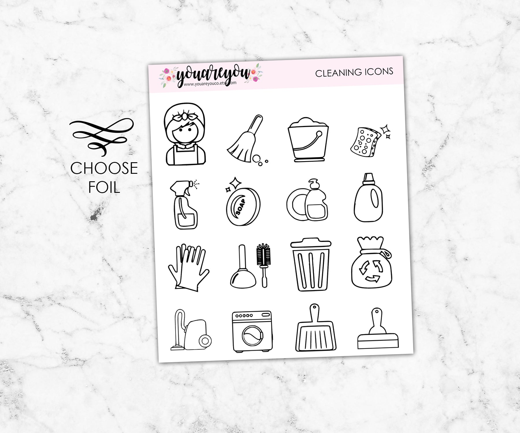 Foil Cleaning Icon Stickers