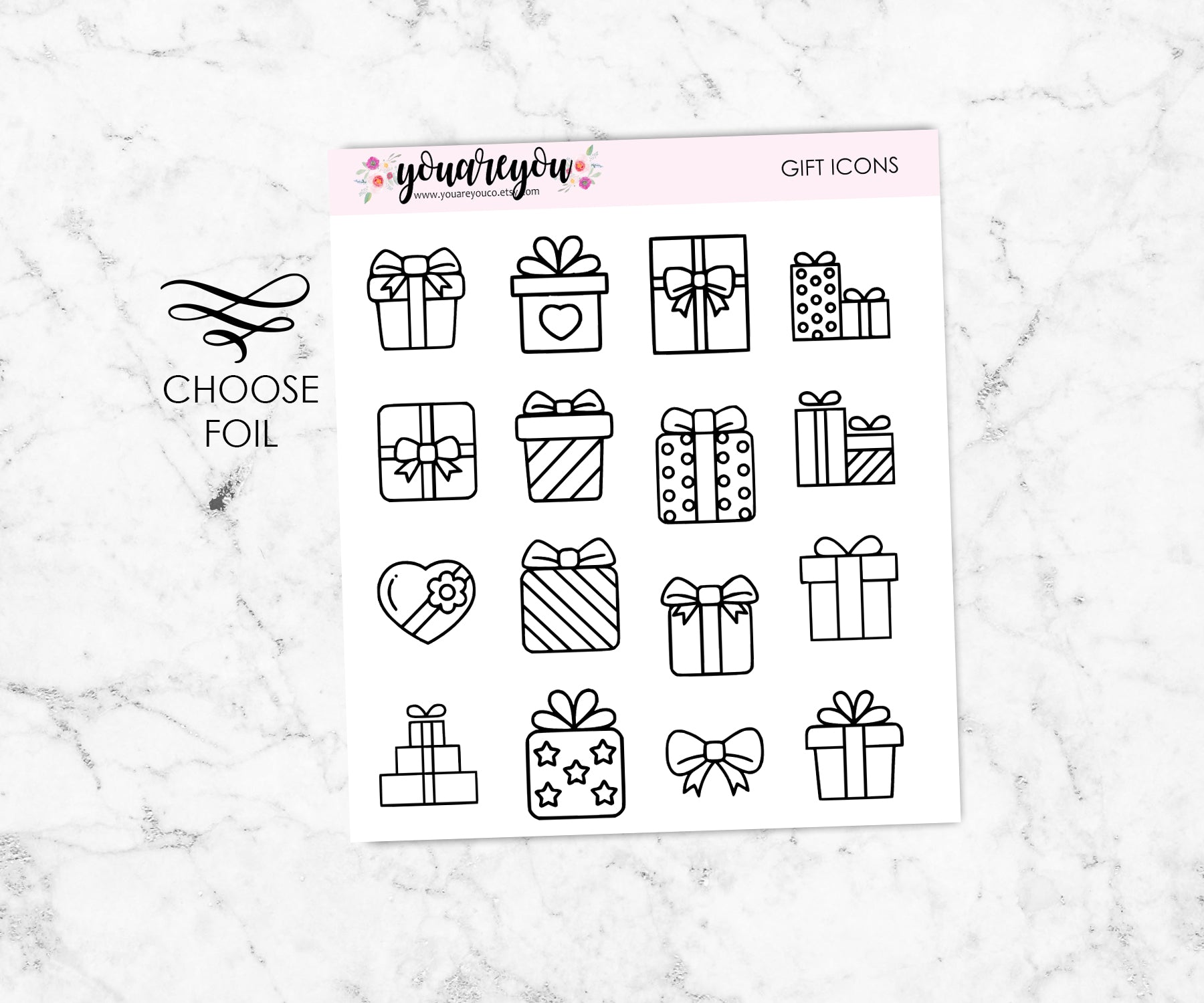 Foil Gift Icon Stickers