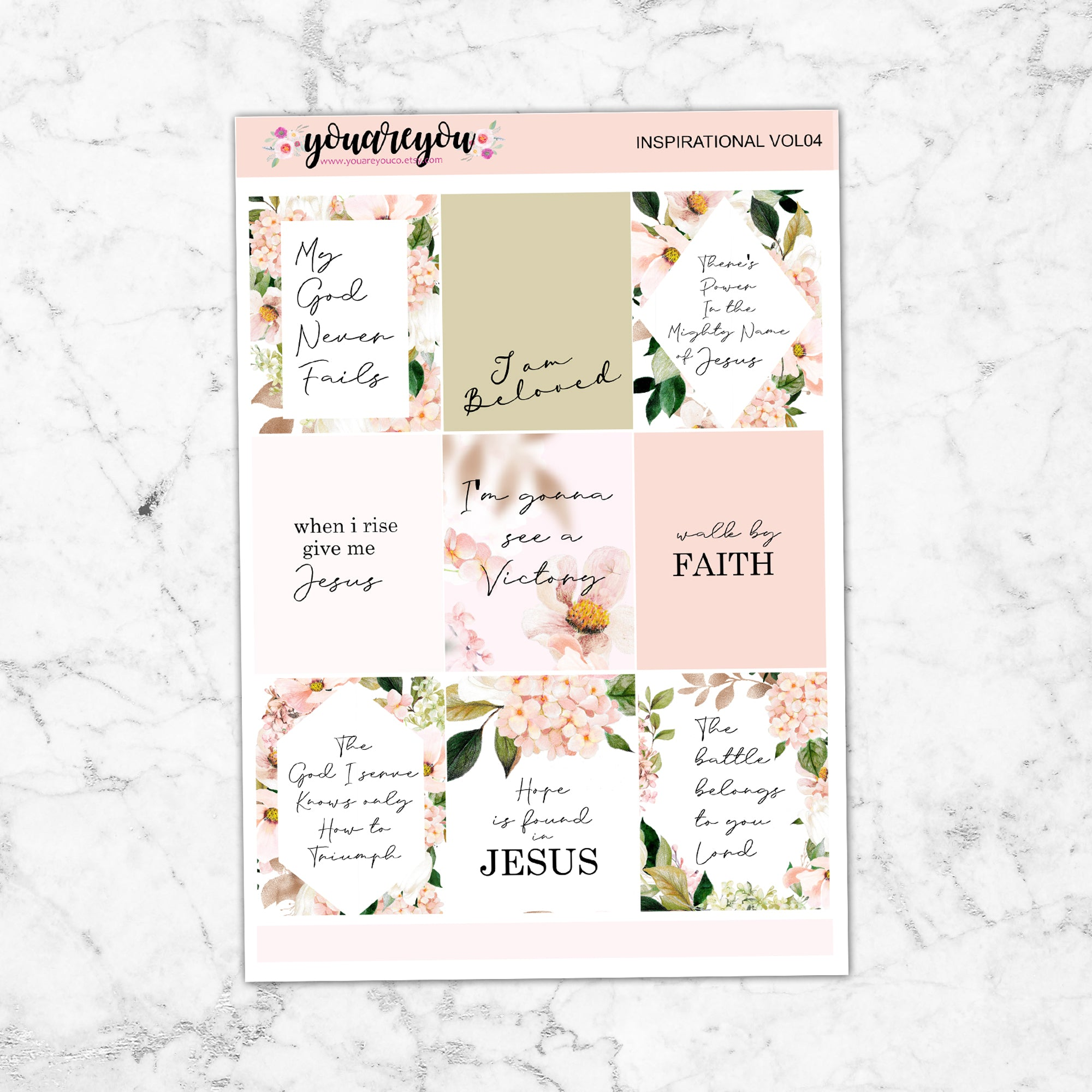 Foil Bible Verses Inspirational Quotes Stickers Vol04