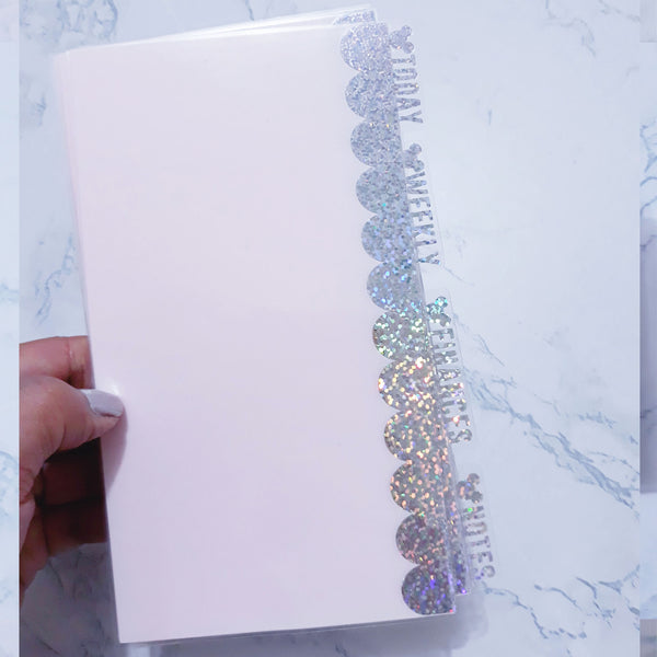 Foiled Pink Scallop Planner Dividers with Disney tabs