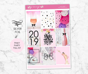 FOILED Planner Stickers Full Kit Vertical - Pinky Party SILVER FOIL