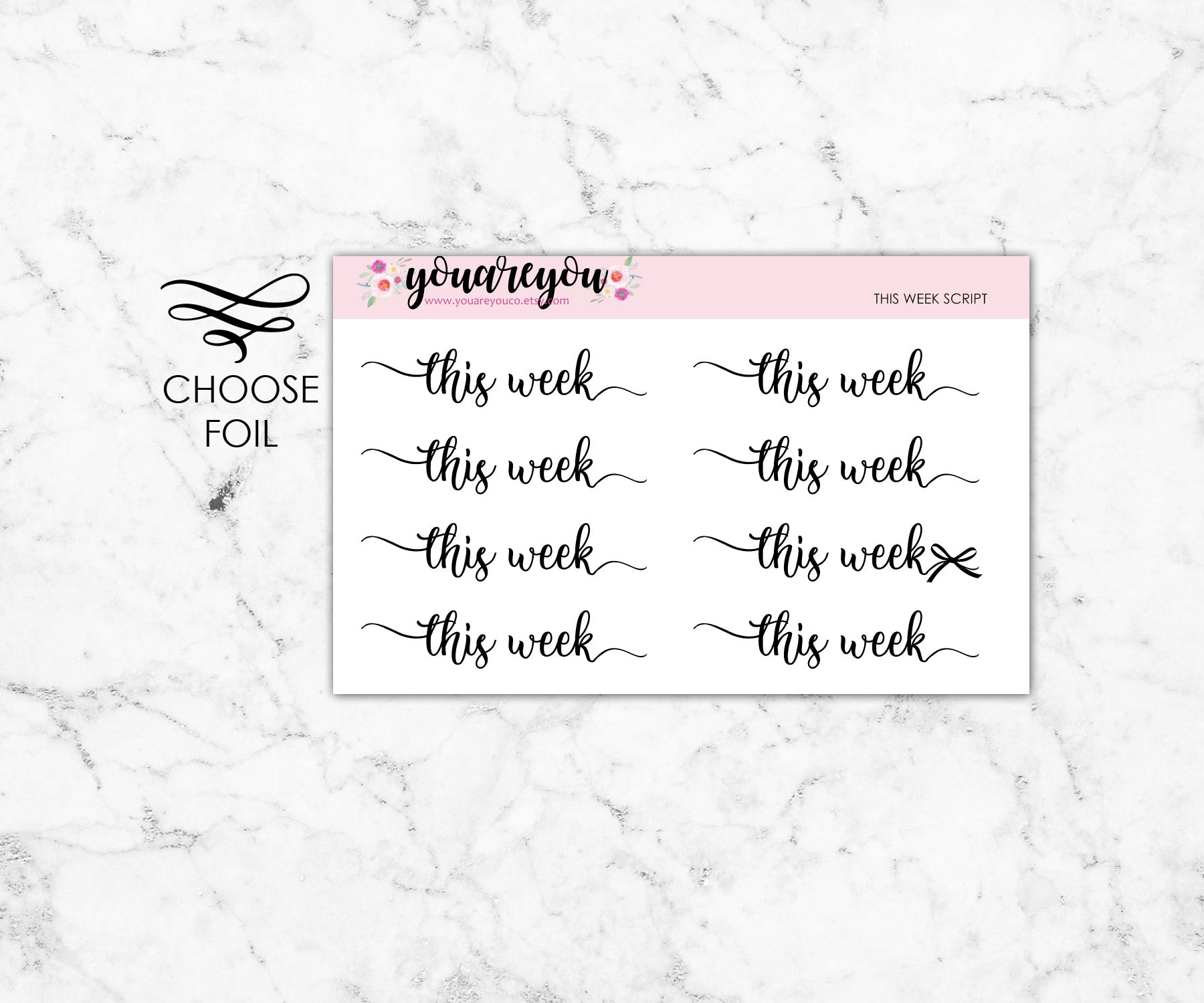 Foiled Script Planner Stickers - This Week