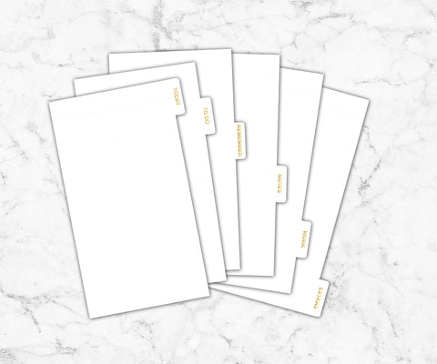 Foiled White Planner Dividers