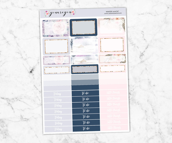 FOIL Planner Stickers Full Kit Erin Condren Vertical - Winter Magic