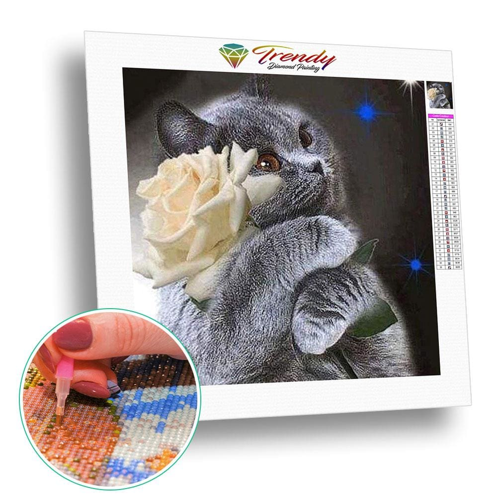 Calin de chat | Broderie point de diamant - Animaux Chat Produit