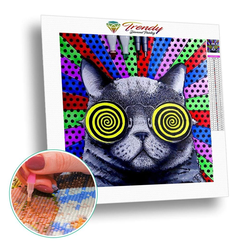 Chat hypnotique | Diamond painting grand format - Animaux Chat Produit
