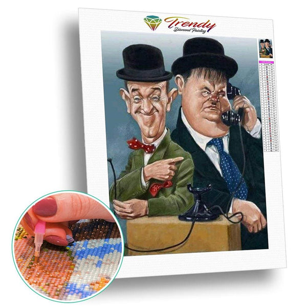 Laurel et Hardy caricature | Diamond painting grand format - Portrait Produit