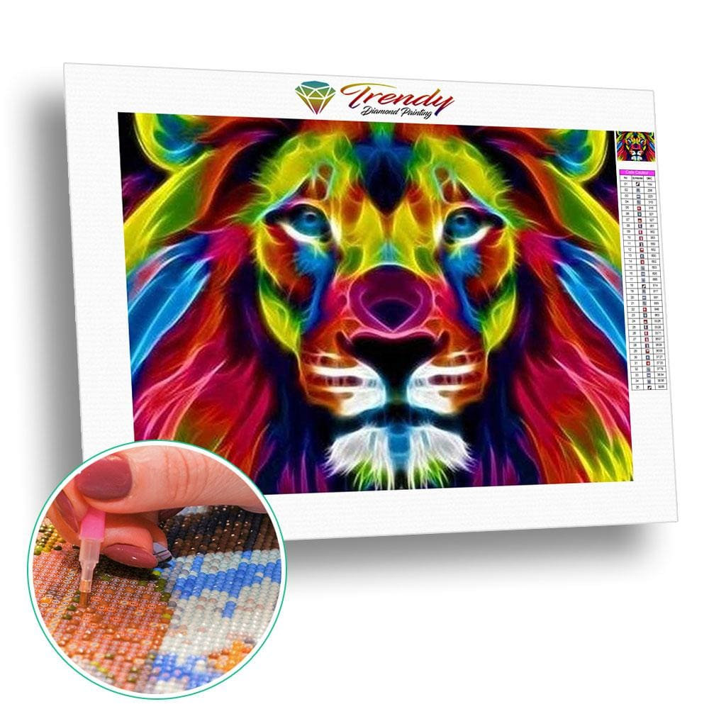 Les fauves colorful - modèle M001 | Diamond painting grand format - Animaux Lion Produit Tigre