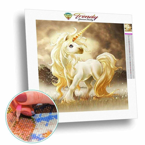 Licorne doré | Diamond painting grand format décoration maison - Animaux Cheval Dessin Dessin animé Licorne