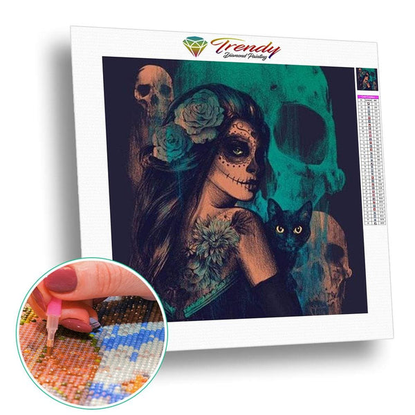 Maquillage Halloween mexicain - modèle M001 | Diamond Painting - Gothic Portrait Produit