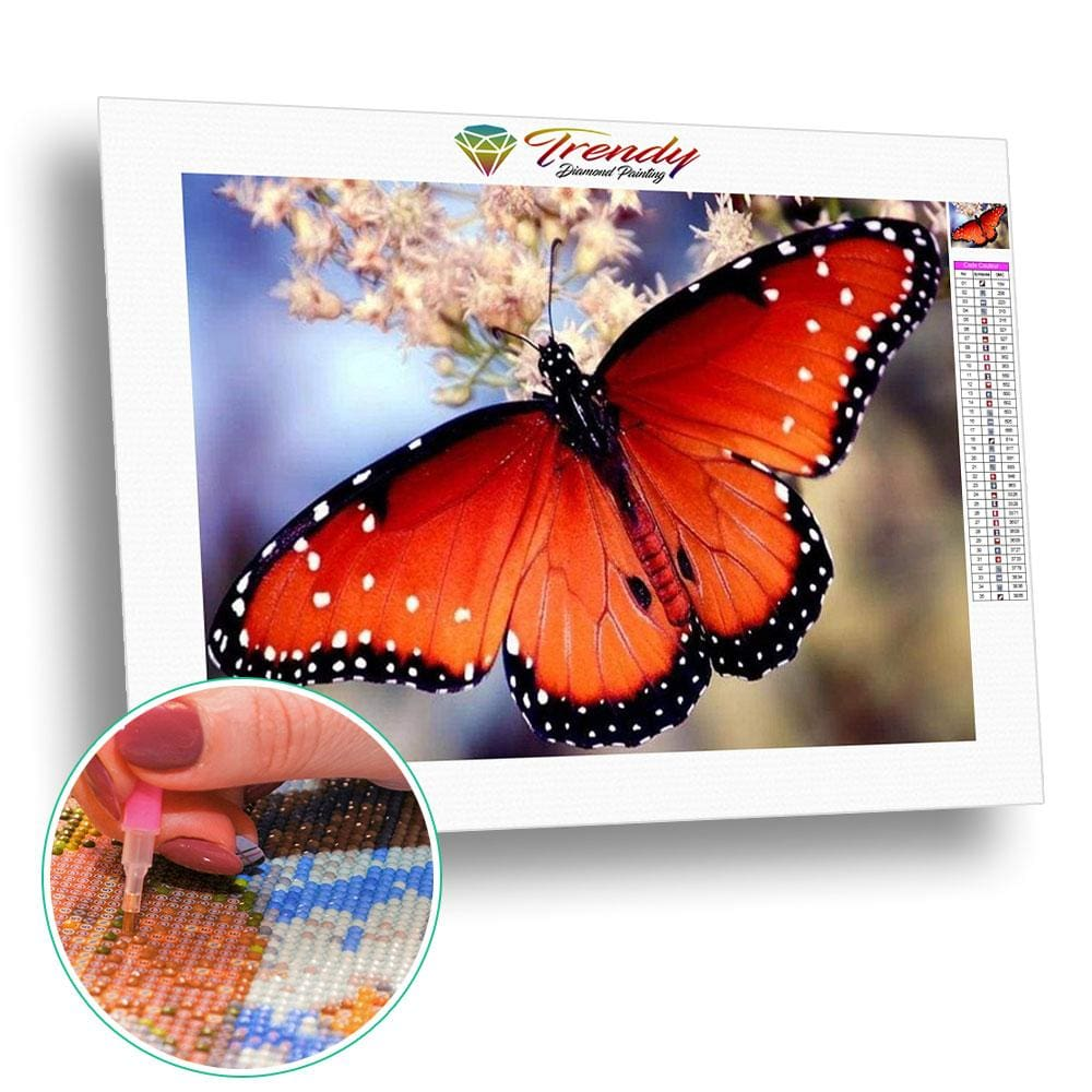 Papillon orangé à point blanc | Diamond painting kit - Animaux Papillon Produit