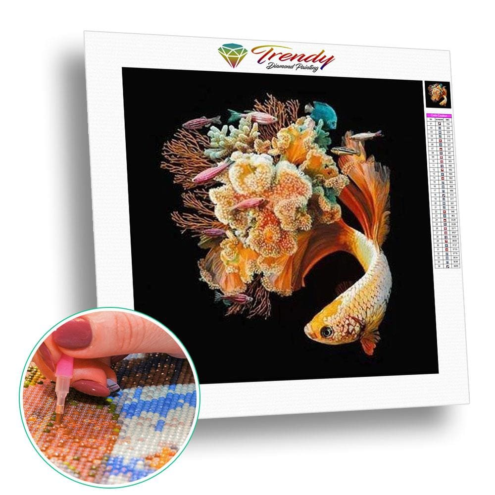 Poissons queue corail - modèle M002 | Diamond painting grand format - Animaux Poisson Produit