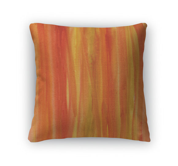 Throw Pillow, Red Brown Yellow Watercolor Abstract - VegasheatX