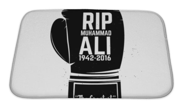 Bath Mat, Rip Muhammad Ali Boxing Gloves Isolated On White Design Element In - VegasheatX