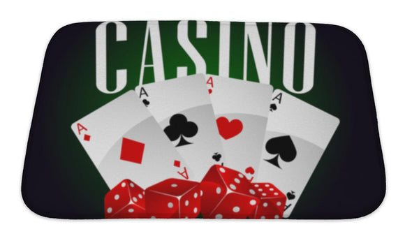 Bath Mat, Casino Dice And Poker Cards - VegasheatX