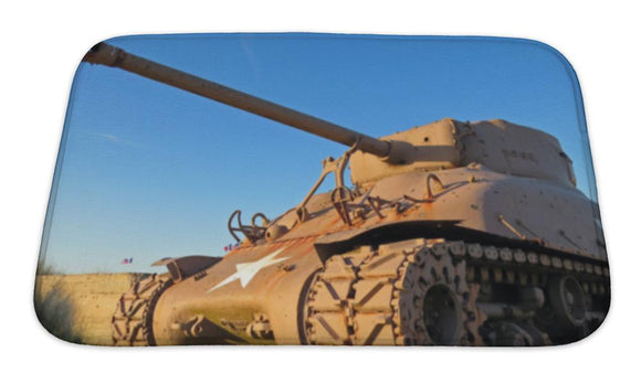 Bath Mat, Normandy American Ww2 Sherman Tank During Sunset - VegasheatX