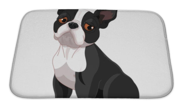 Bath Mat, Cute Boston Terrier - VegasheatX