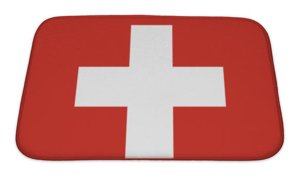 Bath Mat, Swiss Flag Illustration - VegasheatX