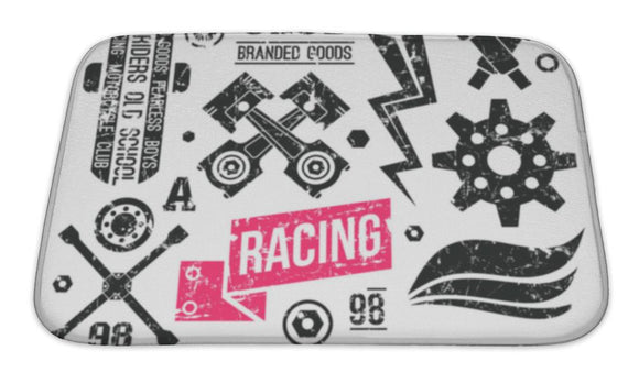 Bath Mat, Car Racing Badges In Retro Style - VegasheatX