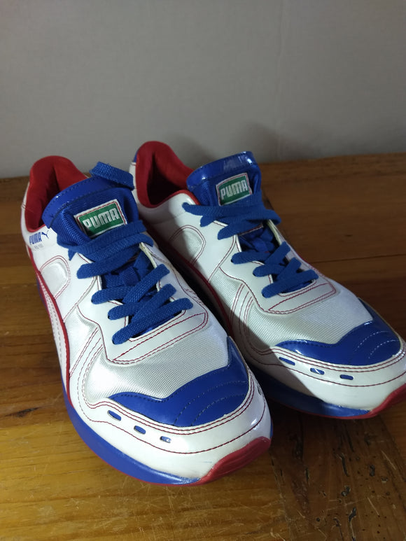 Sports vintage tennis shoes red white blue Puma RS100 running shoes, sz.11