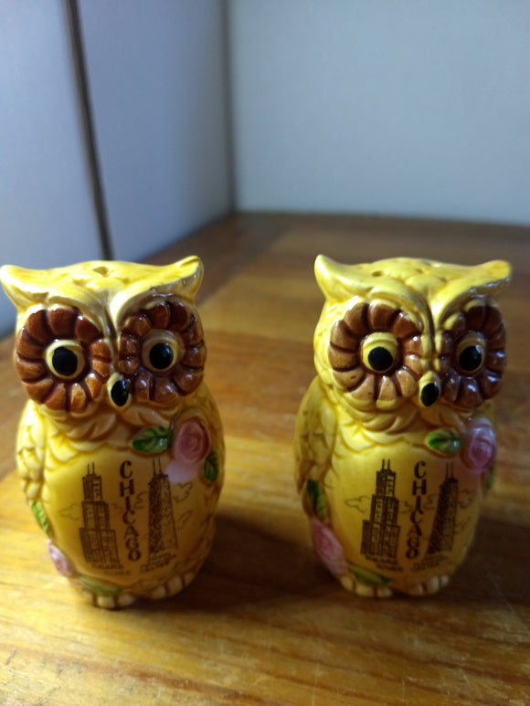 Vintage, Salt pepper shakers Owl, Chicago