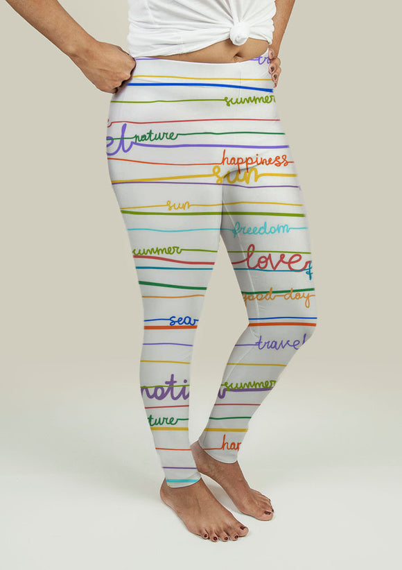 Leggings with Stripe Pattern with words - VegasheatX