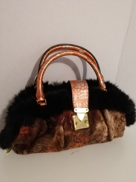 Fur trimmed handbag, unique, stylist, retro vintage FREE S&H A1 - VegasheatX