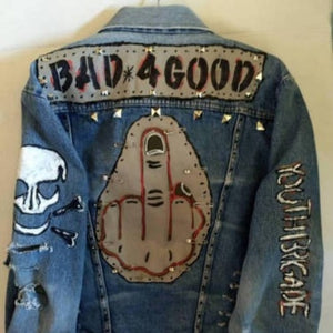 PUNK Denim jacket with attitude,hand crafted denim one kind adult (unisex) XL FREE S&H - VegasheatX