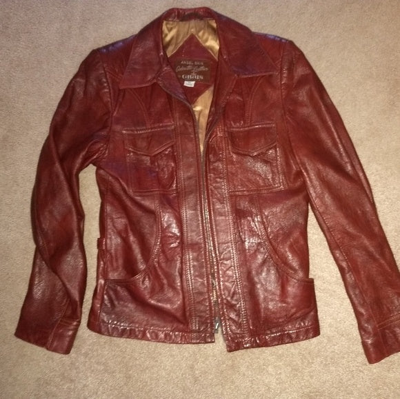 Vintage NICE very soft Mahogany disco Saturday night fever Grais leather jacket. M FREE S&H - VegasheatX