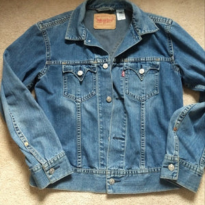 Vintage Levi jean jacket type 1 XL, great shape 4 pocket, 1990's..unisex denim FREE S&H - VegasheatX