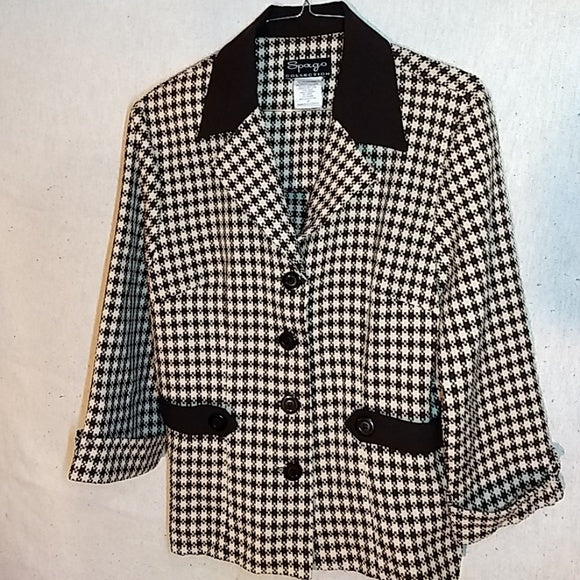 Vintage Spago black n white blazer jacket button up, side cinch straps Sz 12 FREE S&H - VegasheatX