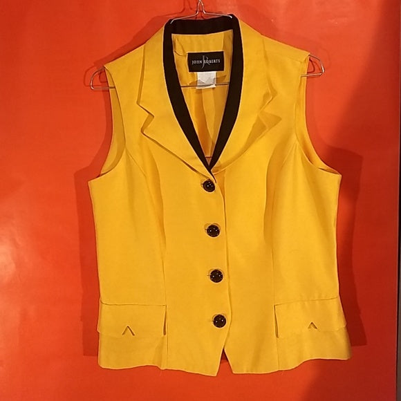 Hot John Roberts top, yellow, womans vest jacket sz. 10, 4 button FREE S&H - VegasheatX