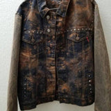 Punk Jacket, Rude Boys, Brown denim Med. unisex, one of a kind handcrafted FREE S&H - VegasheatX