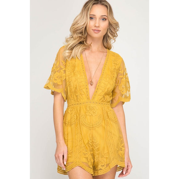 Cindy Yellow Crochet Romper