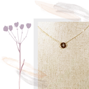 10K Yellow Gold Star Disc Necklace