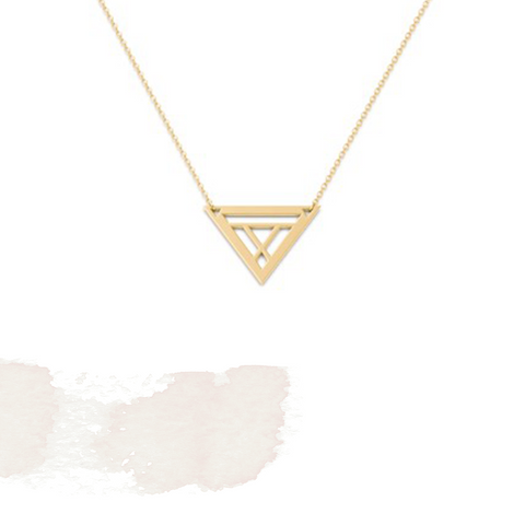 10K Yellow Gold Triangle Necklace