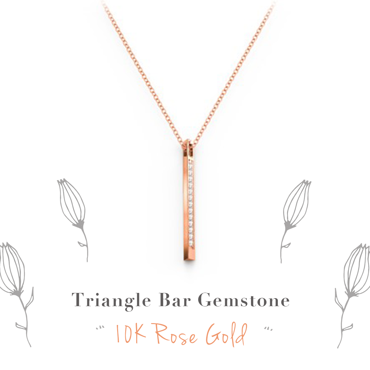 Stunning Triangle Bar Gemstone Necklace