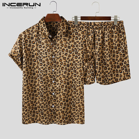 Leopard Printed Lapel Short Sleeve Shirt Beach Shorts African Collection